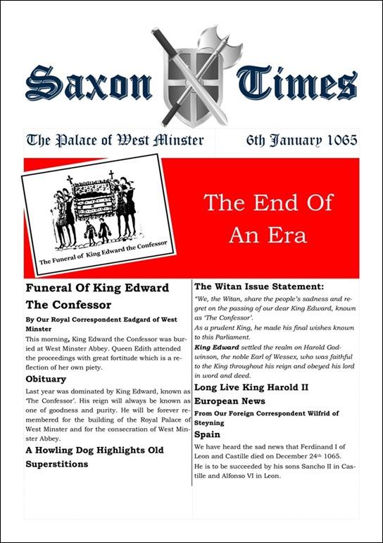 Saxon Times 6 Jan 1066